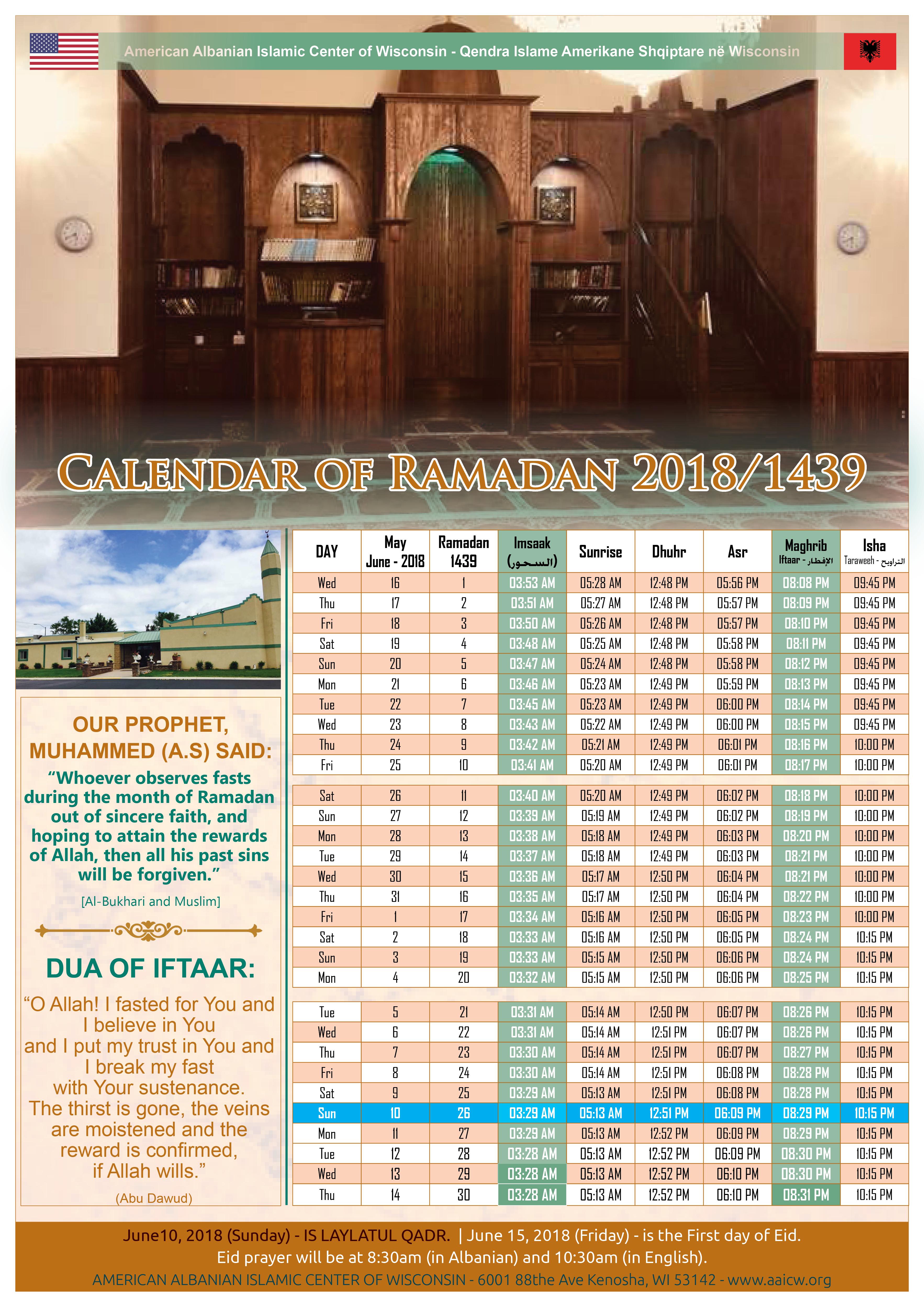 AAICW- Calendar of Ramadan 2018/1439