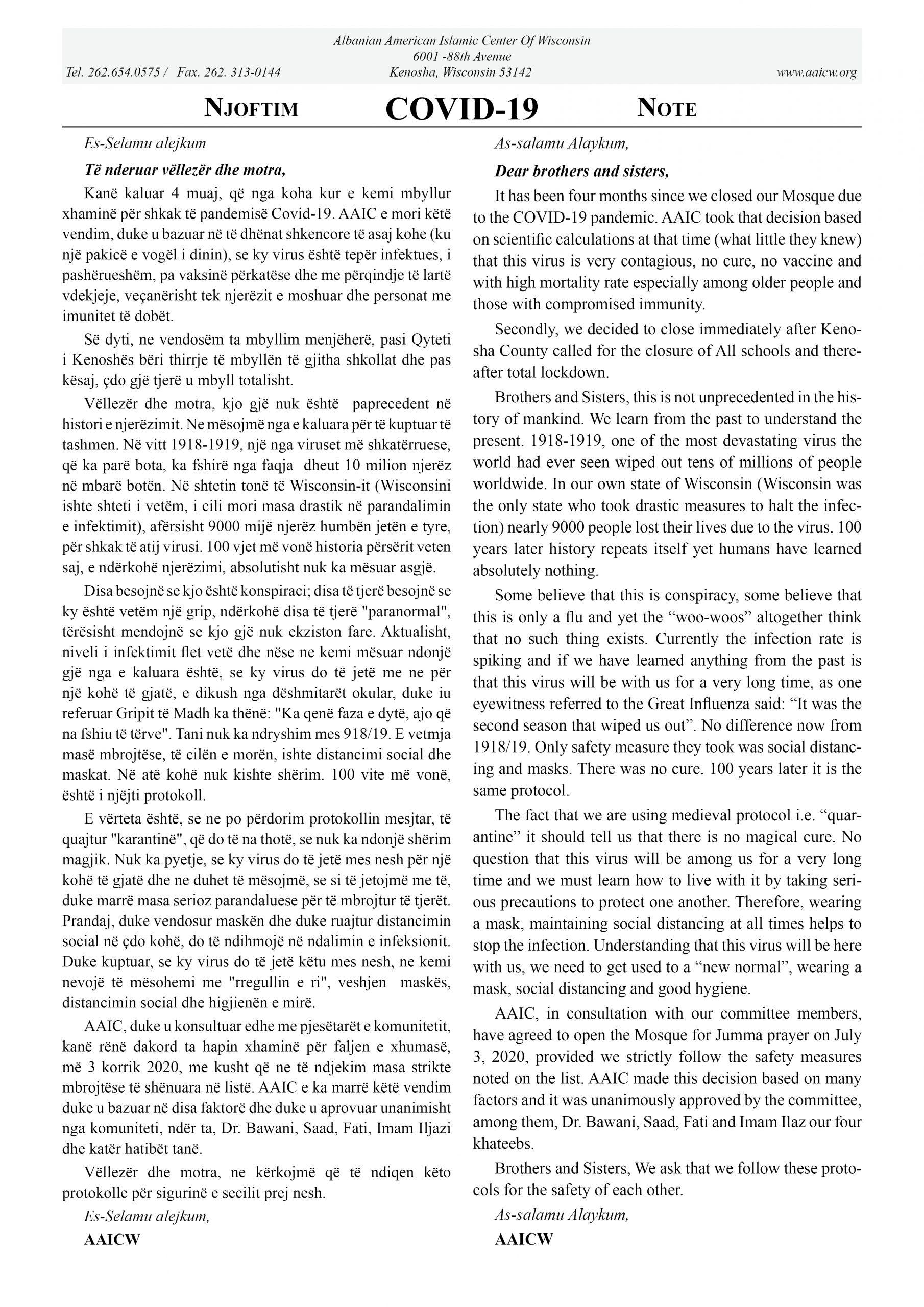 AAICW-NJOFTIM-NOTE-RIHAPJA-REOPEN-XHAMIS-MOSQUE